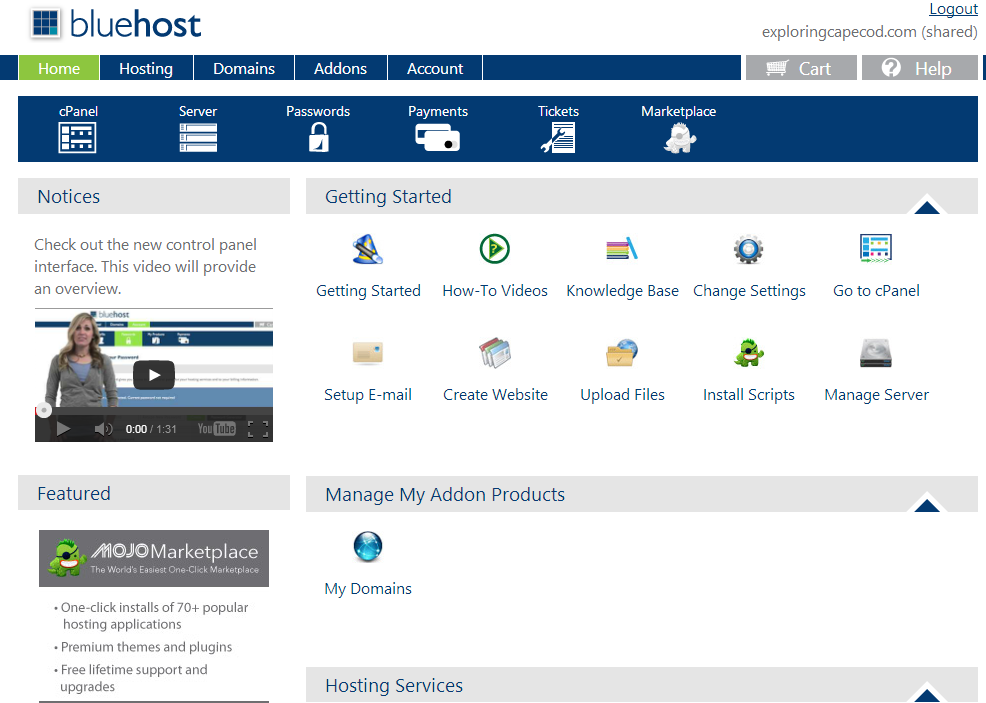 Bluehost Home screen Dashboard