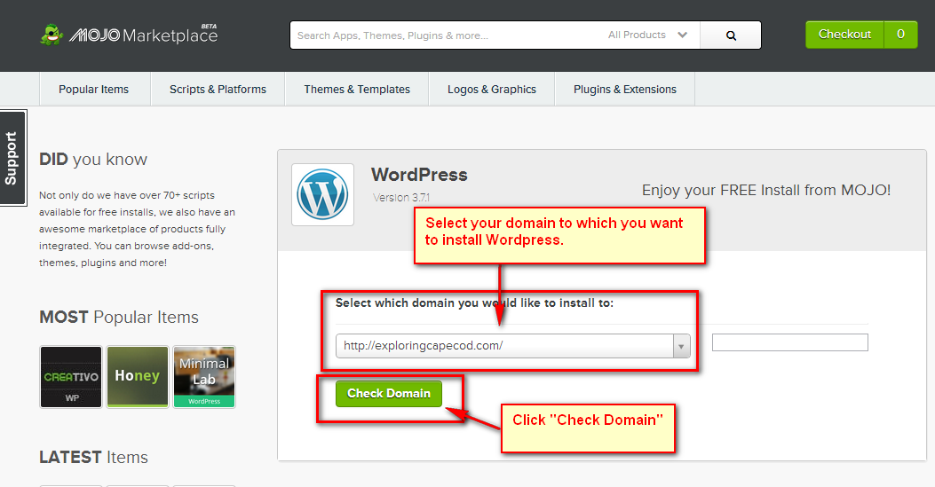Select Domain Install WordPress
